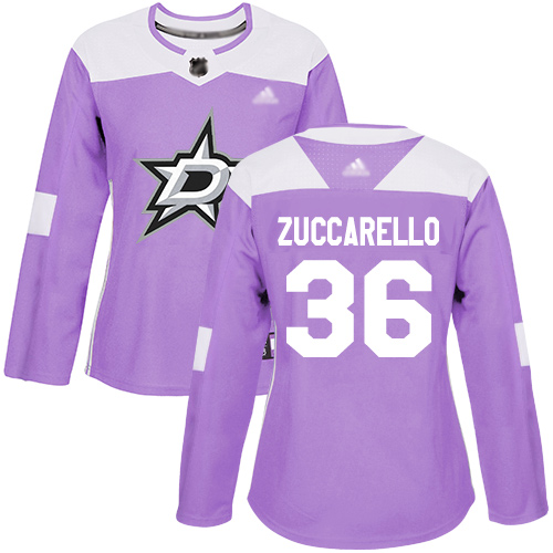Stars #36 Mats Zuccarello Purple Authentic Fights Cancer Women's Stitched Hockey Jersey