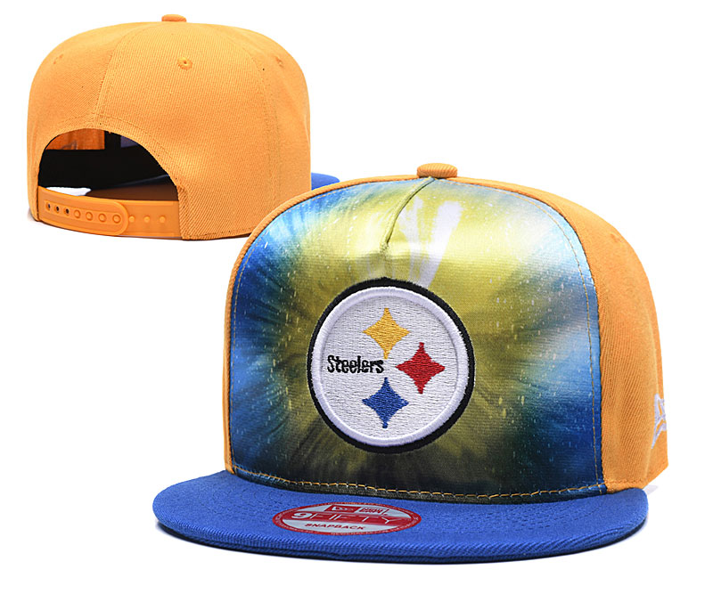 Steelers Team Logo Yellow Royal Adjustable Leather Hat TX