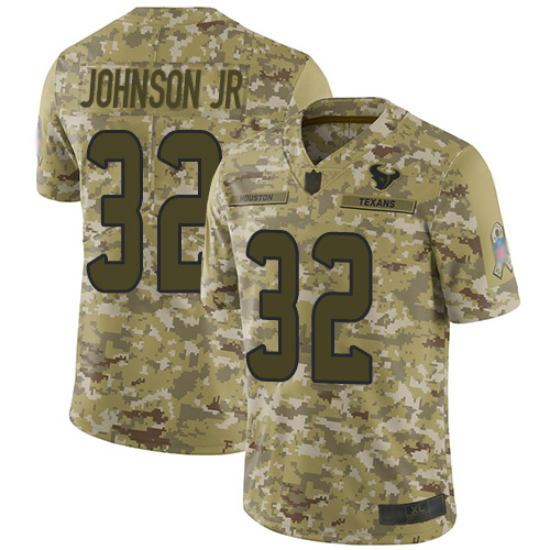 Texans #32 Lonnie Johnson Jr. Camo Men's Stitched Football Limited 2018 Salute To Service Jersey