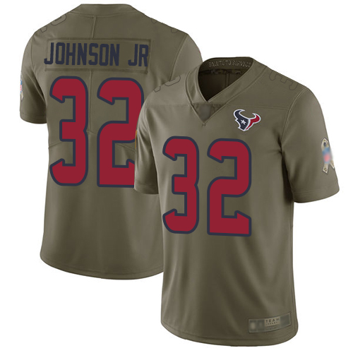 Texans #32 Lonnie Johnson Jr. Olive Men's Stitched Football Limited 2017 Salute To Service Jersey
