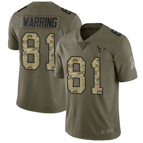 Texans #81 Kahale Warring Olive Camo Men's Stitched Football Limited 2017 Salute To Service Jersey