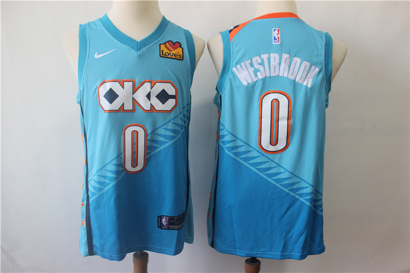 5434ca12a04 Thunder 0 Russell Westbrook Turquoise City Edition Nike Swingman Jersey
