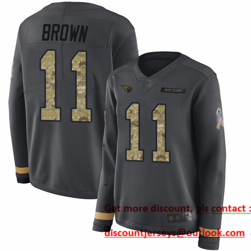 Titans #11 A.J. Brown Anthracite Salute to Service Women's Stitched Football Limited Therma Long Sleeve Jersey