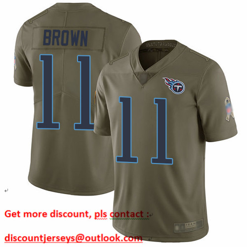 Titans #11 A.J. Brown Olive Men's Stitched Football Limited 2017 Salute To Service Jersey
