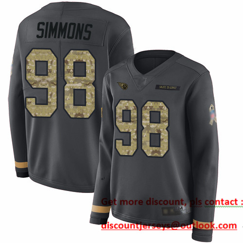 Titans #98 Jeffery Simmons Anthracite Salute to Service Women's Stitched Football Limited Therma Long Sleeve Jersey