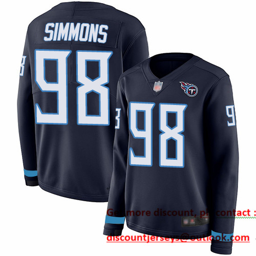 Titans #98 Jeffery Simmons Navy Blue Team Color Women's Stitched Football Limited Therma Long Sleeve Jersey