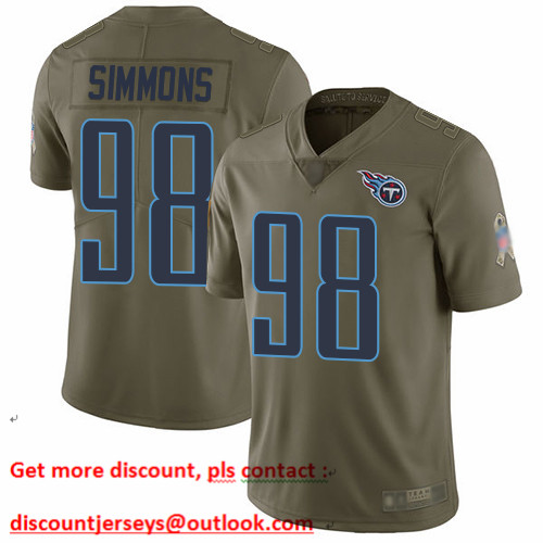 Titans #98 Jeffery Simmons Olive Men's Stitched Football Limited 2017 Salute To Service Jersey