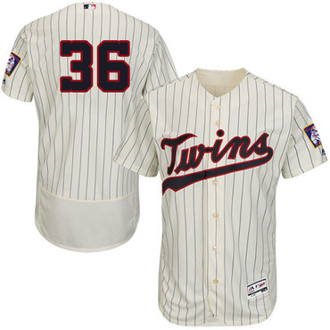 Twins #36 Robbie Grossman Cream Strip Flexbase Authentic Collection Stitched Baseball Jersey