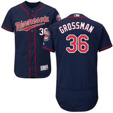 Twins #36 Robbie Grossman Navy Blue Flexbase Authentic Collection Stitched Baseball Jersey