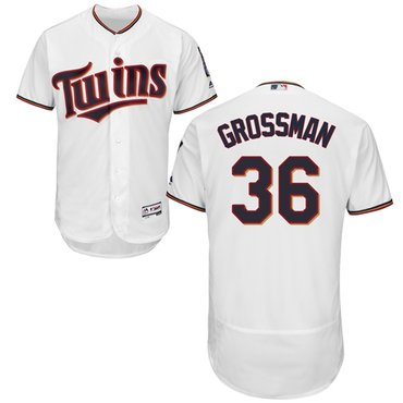 Twins #36 Robbie Grossman White Flexbase Authentic Collection Stitched Baseball Jersey