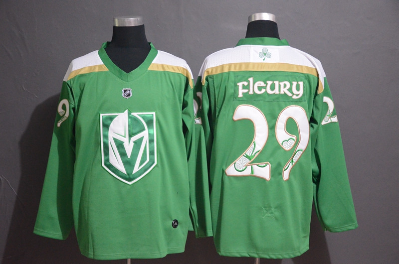 Vegas Golden Knights 29 Marc-Andre Fleury Green 2019 St. Patrick's Day Adidas Jersey