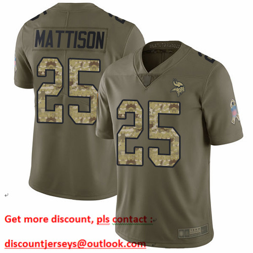 Vikings #25 Alexander Mattison Olive Camo Men's Stitched Football Limited 2017 Salute To Service Jersey