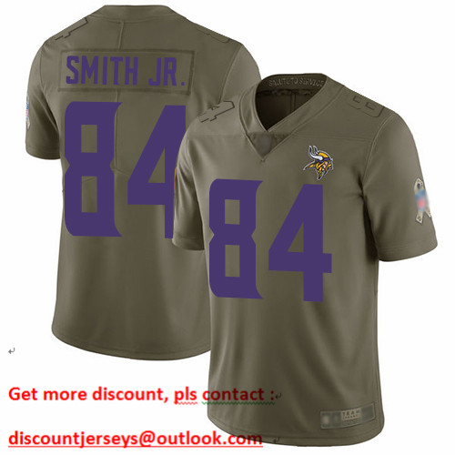 Vikings #84 Irv Smith Jr. Olive Men's Stitched Football Limited 2017 Salute To Service Jersey