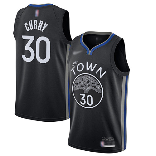 Warriors #30 Stephen Curry Black Basketball Swingman City Edition 2019 20 Jersey