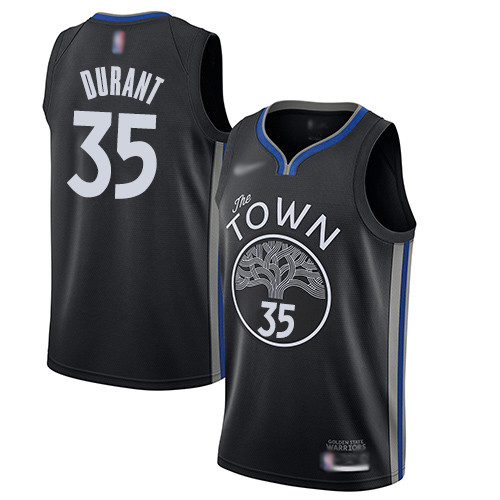 Warriors #35 Kevin Durant Black Basketball Swingman City Edition 2019 20 Jersey