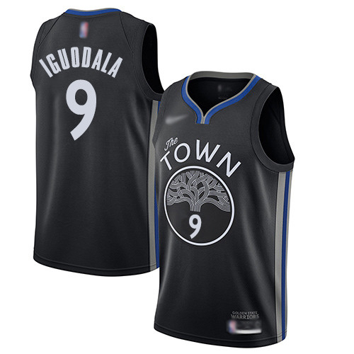 Warriors #9 Andre Iguodala Black Basketball Swingman City Edition 2019 20 Jersey