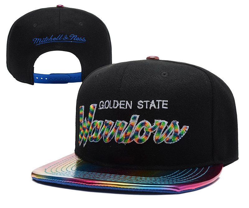 Warriors Team Logo Black Colorful Mitchell & Ness Adjustable Hat YD