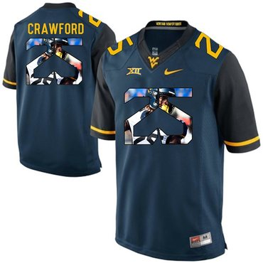 West Virginia Mountaineers Blue Justin Crawford College Football Portrait Jersey