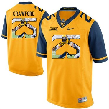 West Virginia Mountaineers Gold Justin Crawford College Football Portrait Jersey