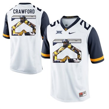 West Virginia Mountaineers White Justin Crawford College Football Portrait Jersey