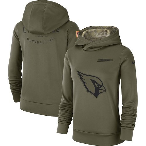 Women's Arizona Cardinals Nike Olive Salute to Service Sideline Therma Performance Pullover Hoodie