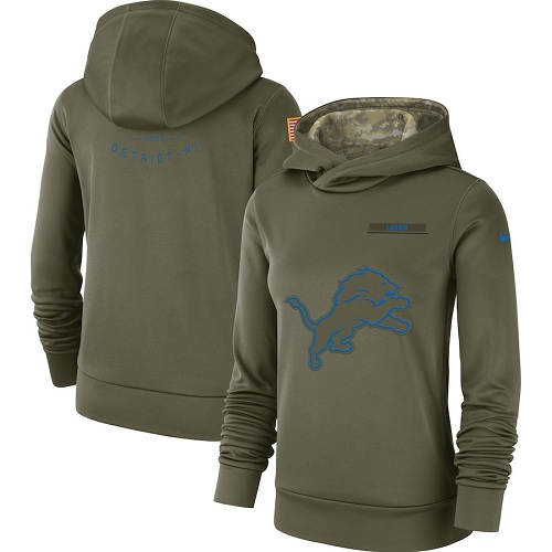 Women's Detroit Lions Nike Olive Salute to Service Sideline Therma Performance Pullover Hoodie