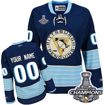 Women s Reebok Pittsburgh Penguins Customized Authentic Navy Blue Third  Vintage 2016 Stanley Cup Champions NHL Jersey 431c2953f