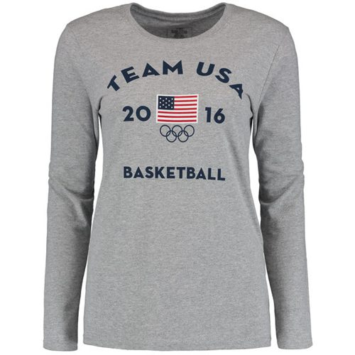 Women's Team USA Basketball Long Sleeves Very Official National Governing Bodies T-Shirt Gray