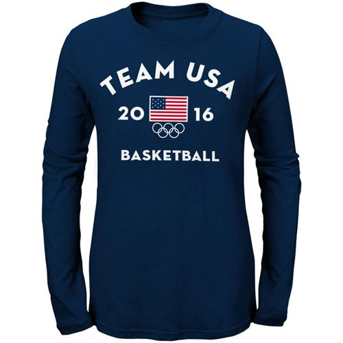Women's Team USA Basketball Long Sleeves Very Official National Governing Bodies T-Shirt Navy