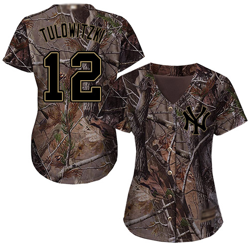 Yankees #12 Troy Tulowitzki Camo Realtree Collection Cool Base Women's Stitched Baseball Jersey