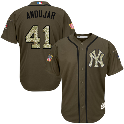Yankees #41 Miguel Andujar Green Salute to Service Stitched Baseball Jersey