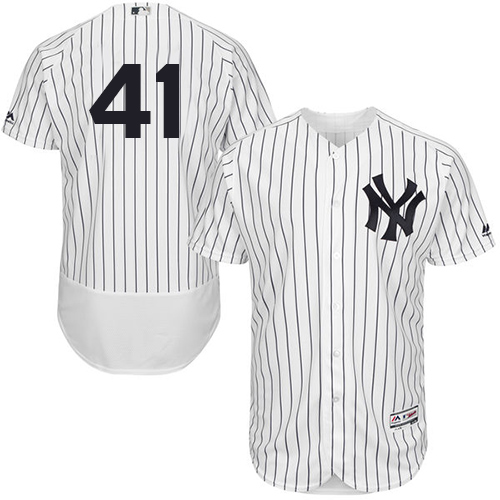 Yankees #41 Miguel Andujar White Strip Flexbase Authentic Collection Stitched Baseball Jersey