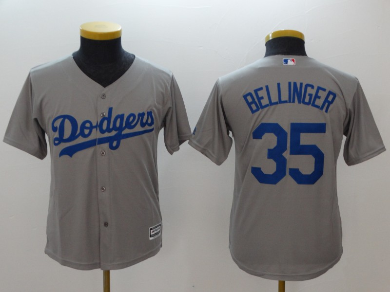 0a31136fa4a Youth Dodgers 35 Cody Bellinger Gray Youth Cool Base Jersey