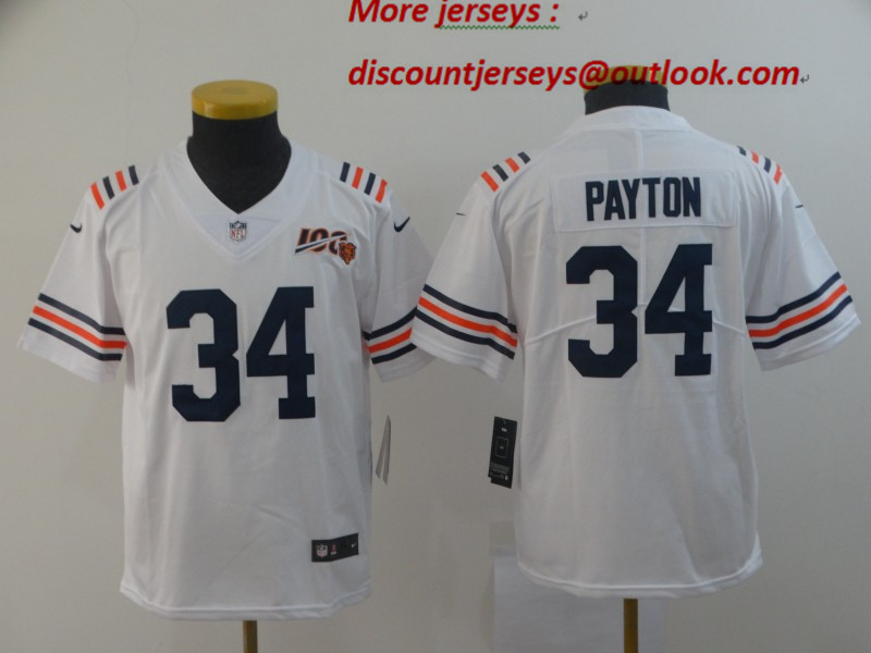 Youth Nike Bears 34 Walter Payton White Youth 2019 100th Season Alternate Classic Retired Vapor Untouchable Limited Jersey