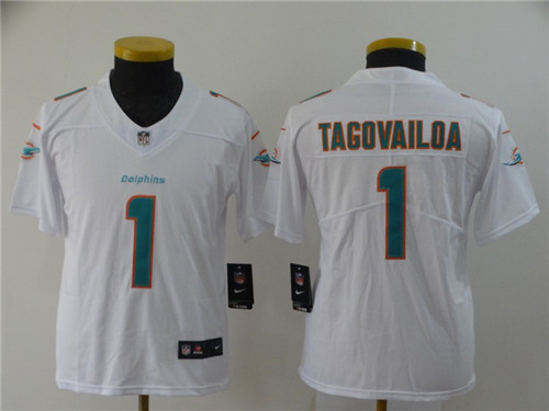 Youth Nike Dolphins 1 Tua Tagovailoa White Youth 2020 NFL Draft First Round Pick Vapor Untouchable Limited Jersey