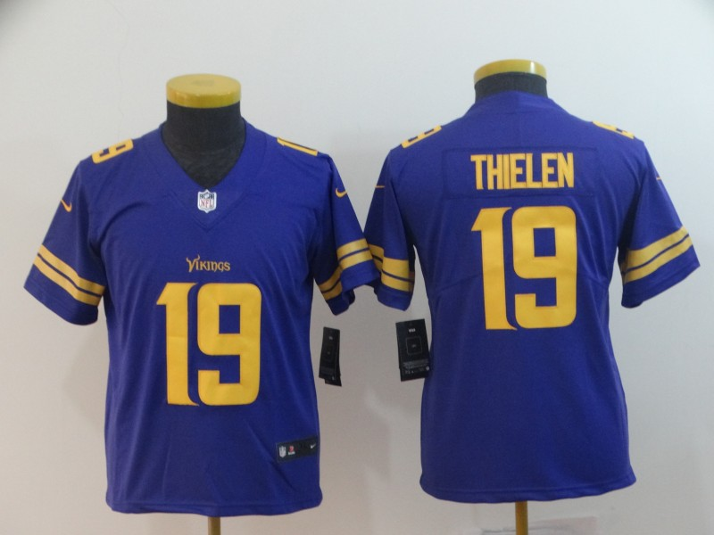 4be91c5cd7c Youth Nike Vikings 19 Adam Thielen Purple Youth Color Rush Limited Jersey