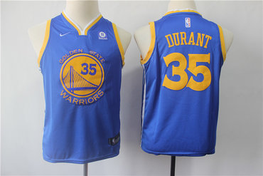 new style 4c30d ccba9 Youth Warriors 35 Kevin Durant Blue Youth Nike Swingman